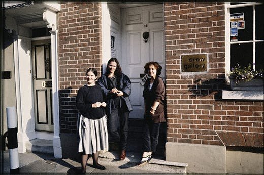 Sandra Drew, Maryrose Sinn and Caroline Douglas outside Drew Gallery, 1986