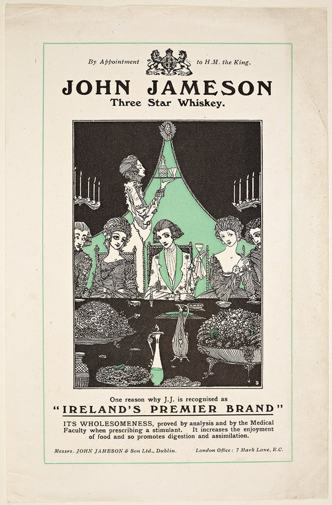 Advertisement designed by Harry Clarke in 1924 for John Jameson three-star whisky, National Library of Ireland, Dublin