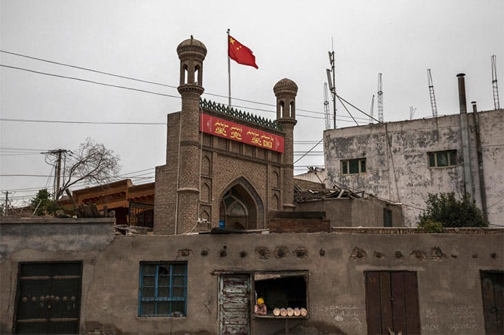 A mosque closed by authorities in Kashgar, Xinjiang province, photographed on 28 June 2017.