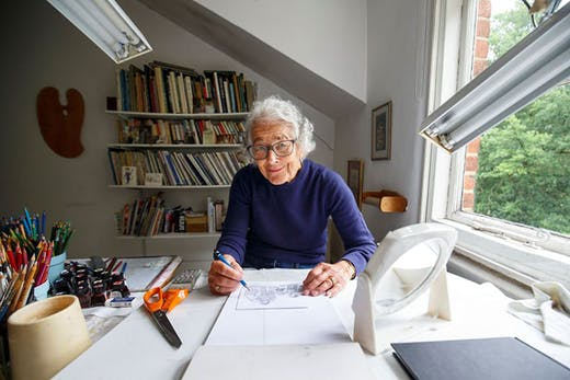 Judith Kerr (1923–2019) at her home in west London in 2018.