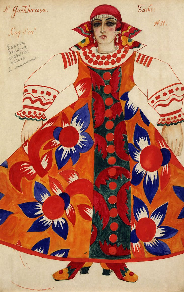 Peasant woman. Costume design for Le Coq d'Or (1937), Natalia Goncharova