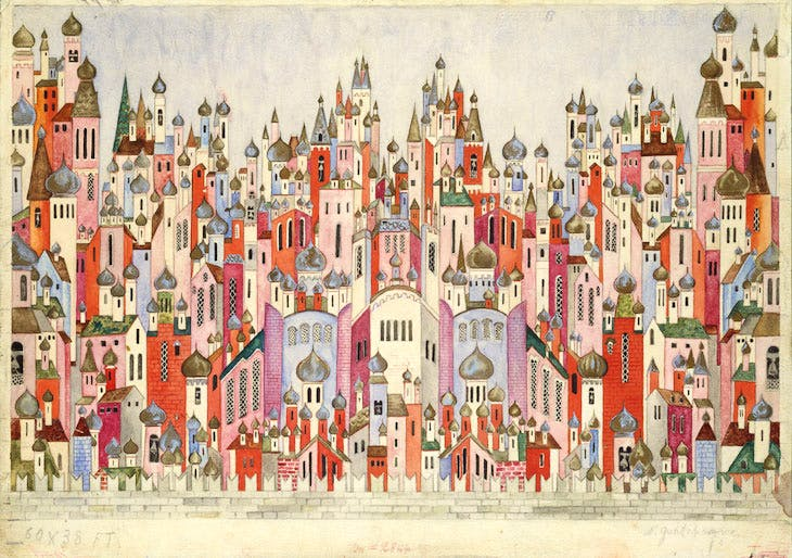 Set design for the final scene of The Firebird (1954), Natalia Goncharova.