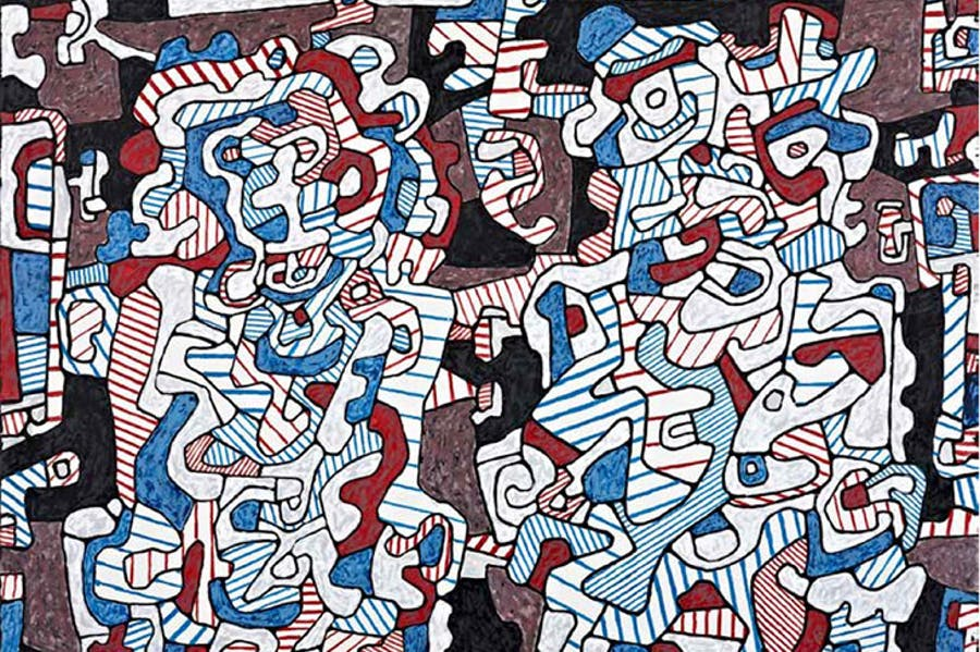 Husband Visiting (detail; 1964), Jean Dubuffet.