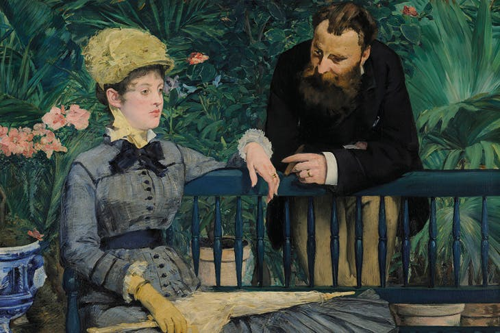 In the Conservatory (detail; c. 1877–79), Édouard Manet.