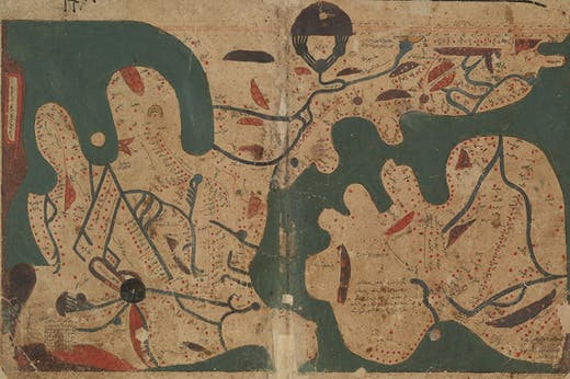 Map of the world from 'The Book of Curiosities' (MS Arab c. 90), copy from c. 1200, Egypt, Bodleian Library, University of Oxford