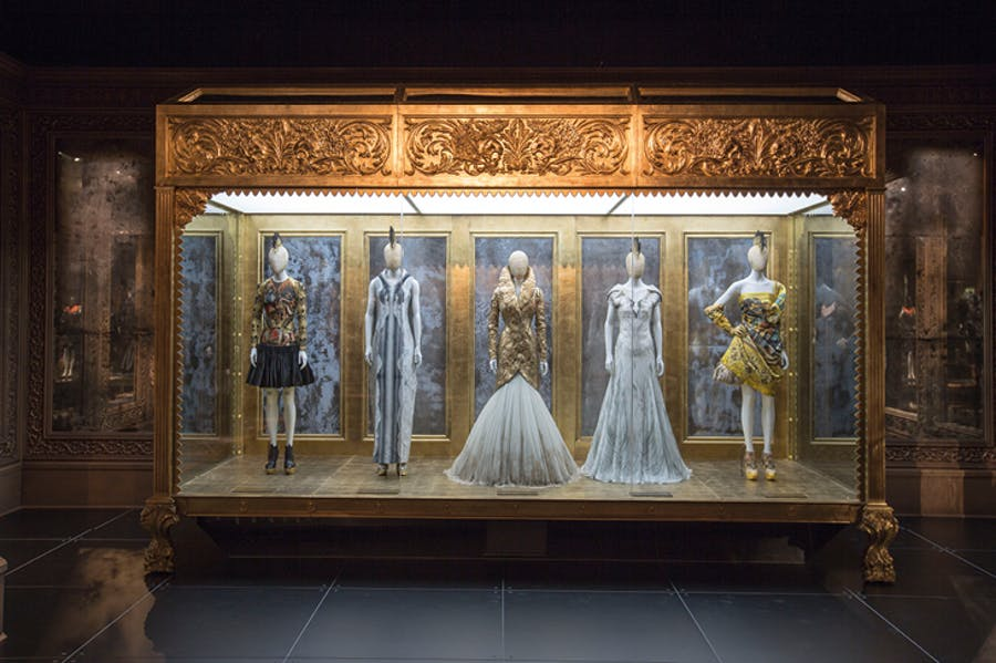 Installation view of the 'Romantic Gothic' gallery from 'Alexander McQueen: Savage Beauty' at the Victoria and Albert Museum, London, in 2015, image: © Victoria and Albert Museum, London