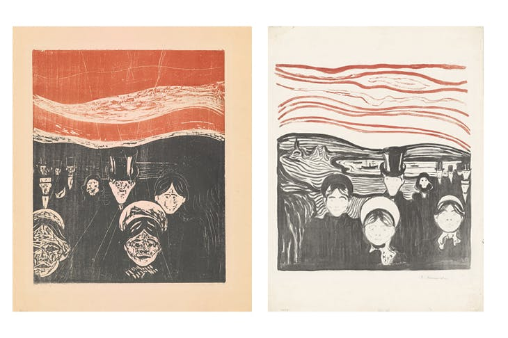 Left: Angst (woodcut; 1896), Edvard Munch. Right: Angst (lithograph; 1896), Edvard Munch.