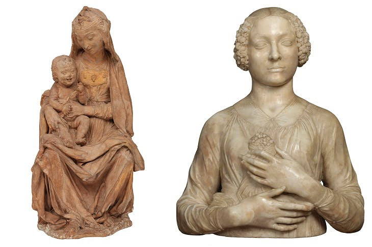 Left: Madonna with the Laughing Child (c. 1472), attrib. Leonardo da Vinci. Photo: © Victorian and Albert Museum, London. Right: Bust of a Lady (Lady with Flowers) (c. 1475), Andrea del Verrocchio. Museo Nazionale del Bargello, Florence. Photo: Giovanni Martellucci