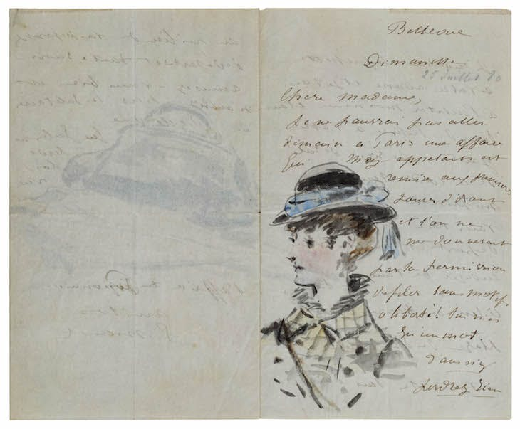 Letter to Madame Jules Guillemet, Decorated with a Portrait and a Still Life of a Bag and a Parasol (1880), Édouard Manet.
