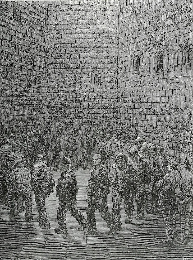 Exercise Yard at Newgate Prison from London: A Pilgrimage