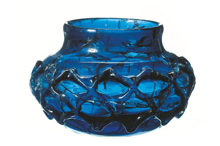 One of two blue glass decorated beakers found in the Prittlewell burial.