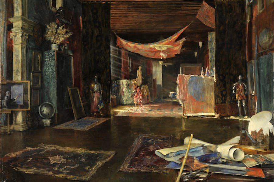 The atelier of the painter at Palazzo Pesaro Orfei (n.d.), Mariano Fotuny y Madrazo.