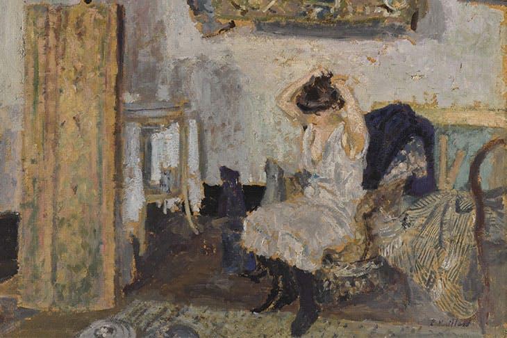 Modèle assise dans un fauteuil, se coiffant (detail; c. 1903), Édouard Vuillard.