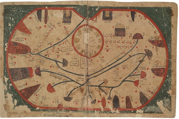 Map of the island of Sicily from the Book of Curiosities (MS Arab c. 90), copy from c. 1200, Egypt, Bodleian Library, University of Oxford