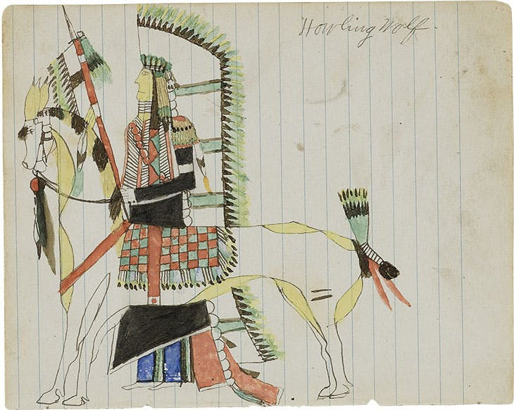 Untitled (Howling Wolf with his War Horse) (c. 1874–75), Howling Wolf (Ho-na-nist-to). Hood Museum of Art, Dartmouth College, New Hampshire