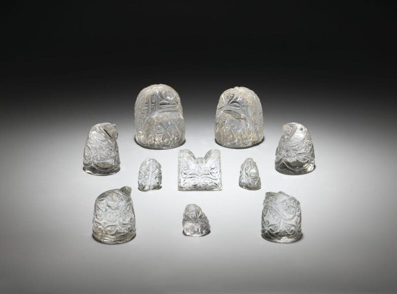 Rock-crystal chess pieces with bevelled arabesque decoration, 9th–early 10th century, Egypt, Iraq or east Iranian region. The al-Sabah Collection, Kuwait. Photo:© Thames & Hudson Ltd and Roberto Lorenzo with Muhammad Ali