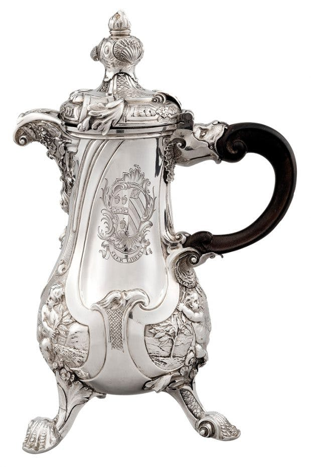 The Lequesne coffee pot (1738), Paul de Lamerie. Koopman Rare Art (price in excess of £3m)