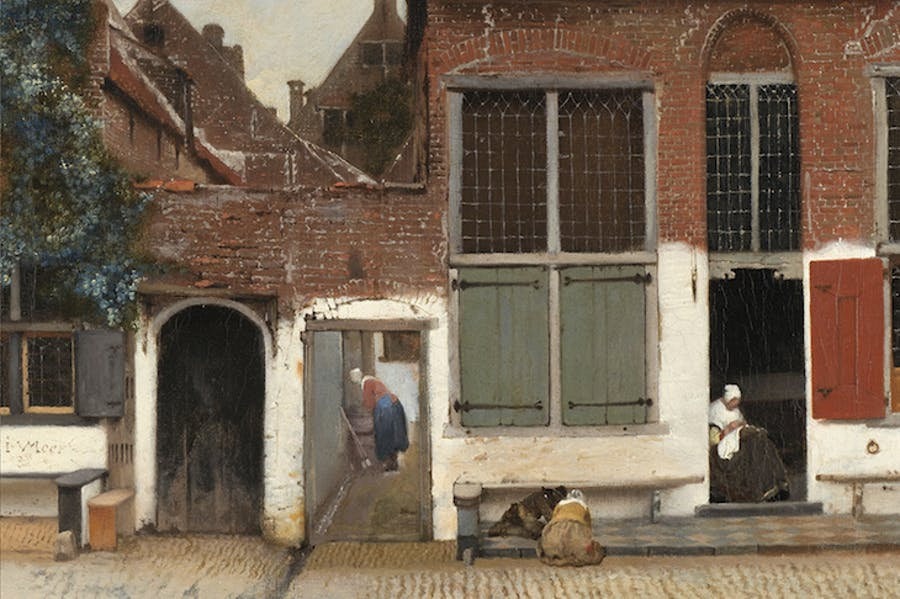 View of Houses in Delft, Known as The Little Street (detail; c. 16580, Johannes Vermeer.