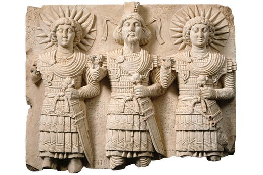 Relief with three Palmyrene gods (1st century), Bir Wereb, near Palmyra. Musée du Louvre, Paris.
