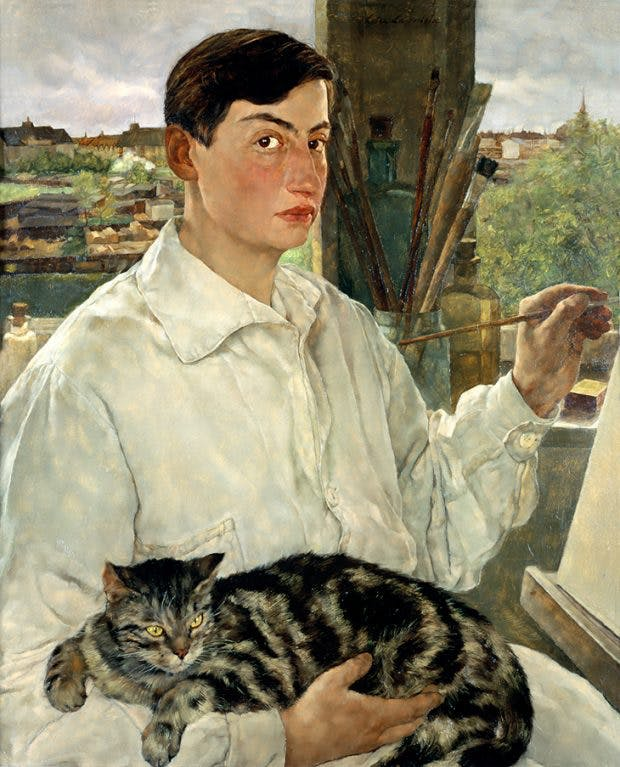 Self-Portrait with a Cat, (1928), Lotte Laserstein. New Walk Museum and Art Gallery, Leicester, © VG Bild-Kunst, Bonn 2019