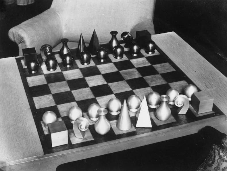 Chess set c. 1930 designed by Man Ray. Photo: General Photographic Agency/Getty Images