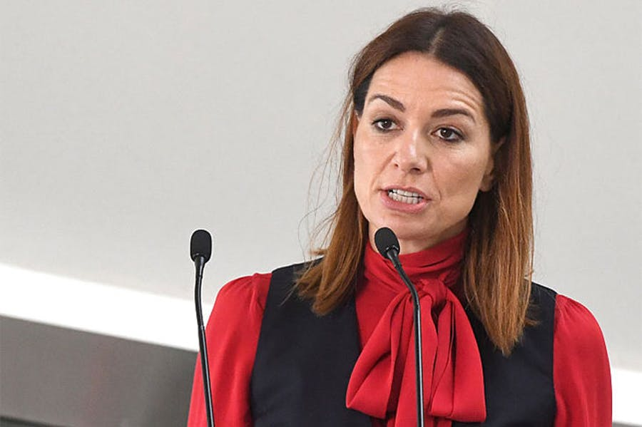 Yana Peel, who has resigned as the CEO of the Serpentine Galleries, speaking at a press conference at the gallery in 2016.