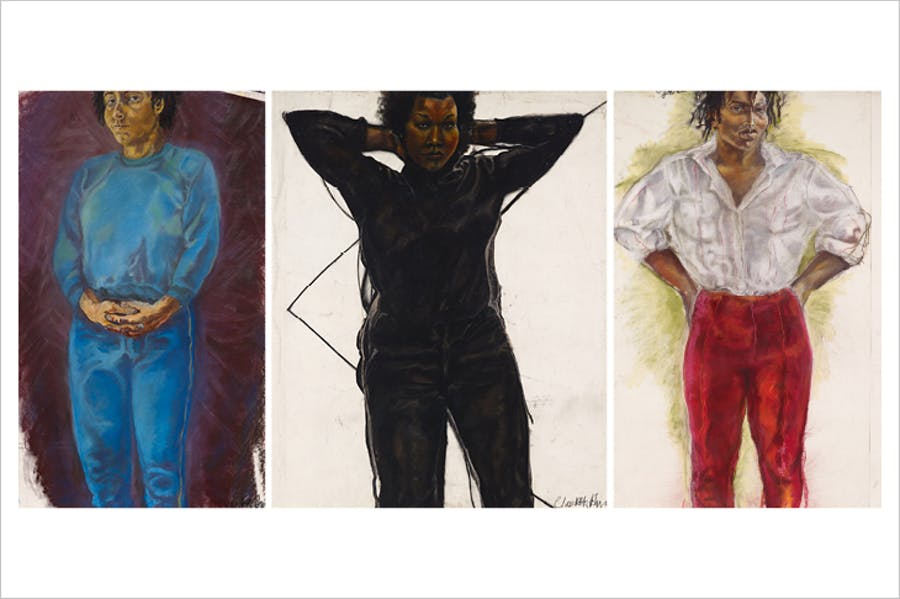 Trilogy (Part One), Woman in Blue; Trilogy (Part Two) Woman in Black; Trilogy (Part Three) Woman in Red (1982–86), Claudette Johnson. Arts Council Collection, Southbank Centre, London. © Claudette Johnson