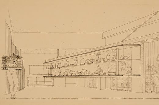 Drawing of a display case, c. 1940, Lina Bo Bardi. IBCV Archives.