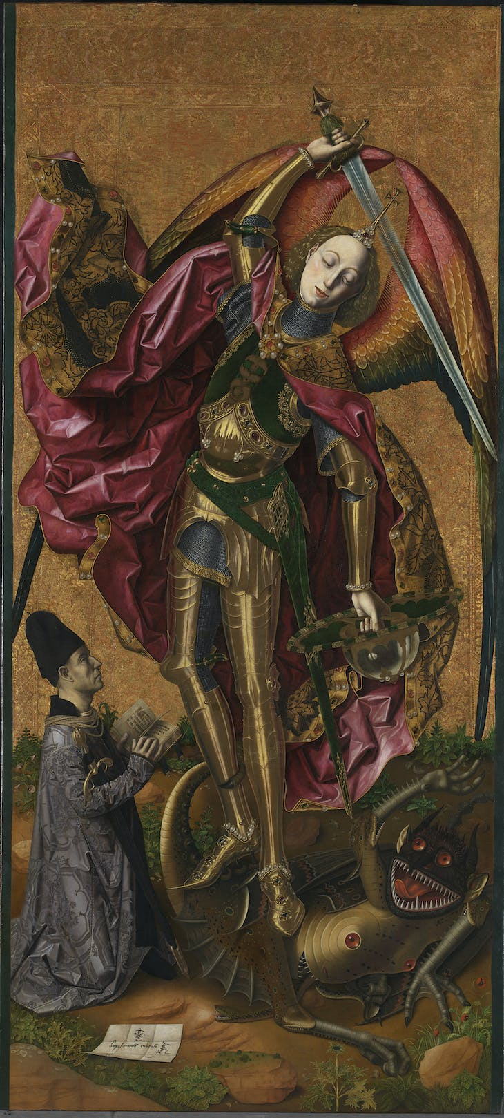 Saint Michael triumphant over the Devil with the Donor Antoni Joan (1468), Bartolomé Bermejo.