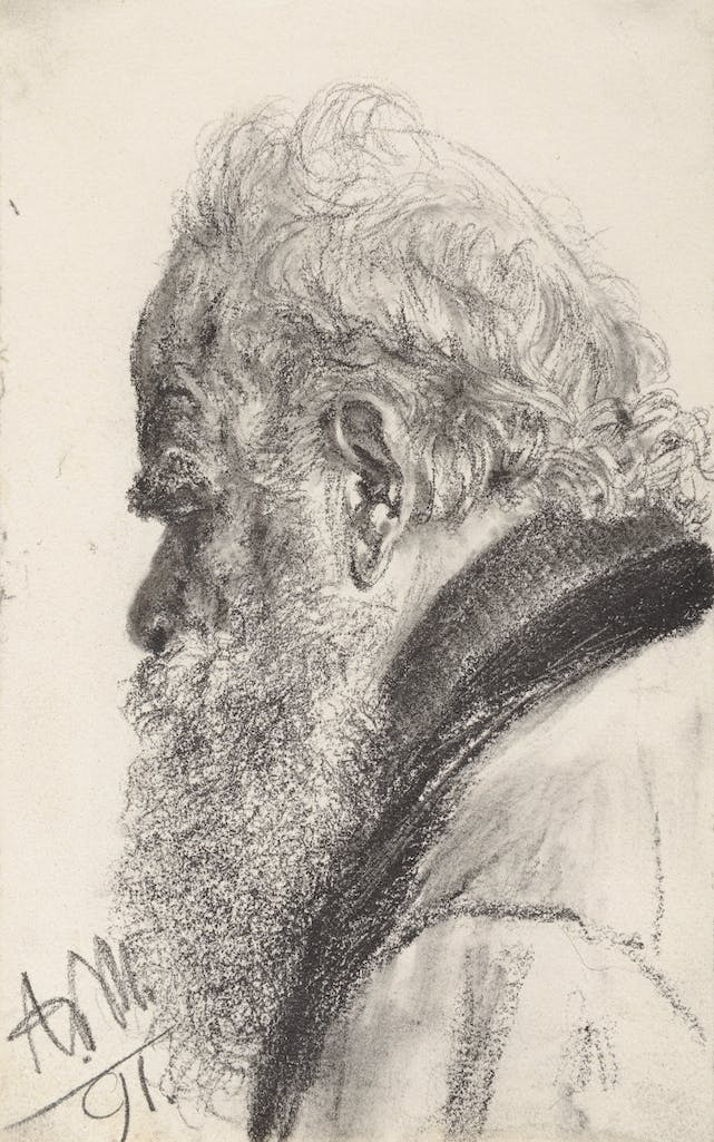 A Bearded Man Looking down to the Left (1891), Adolph von Menzel.
