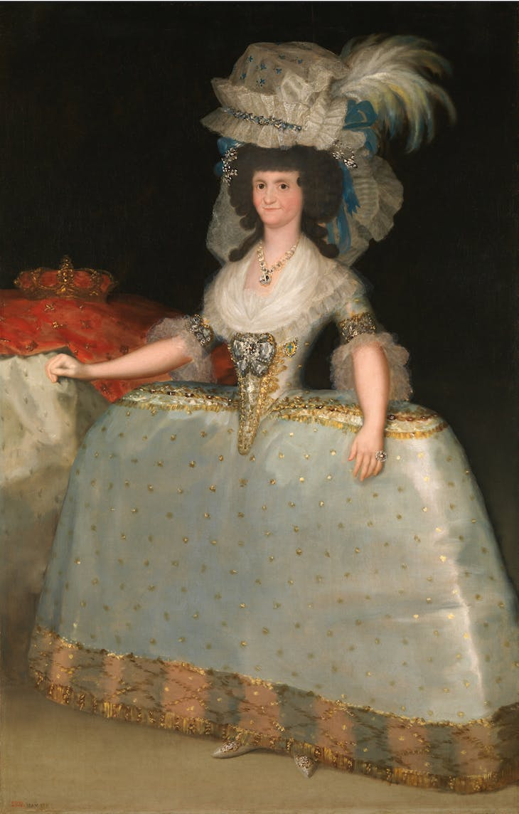 Queen Maria Luisa in a Dress with Hooped Skirt, Goya