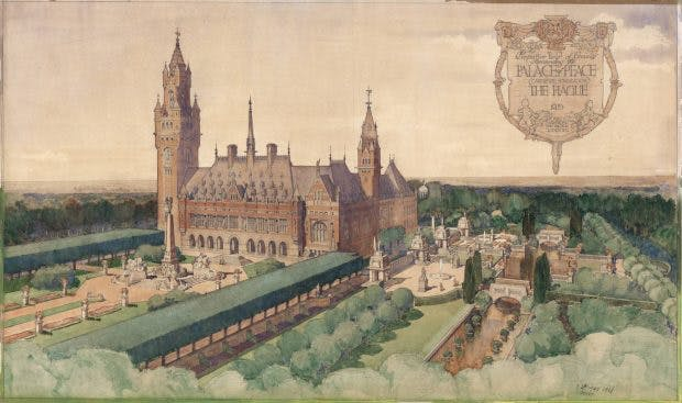 Thomas Mawson's scheme for the gardens of the peace Palace in The Hague, depicted in a watercolour of 1908 by Robert Atkinson, Courtesy Carnegie Foundation Archive, the Peace Palace, The Hague