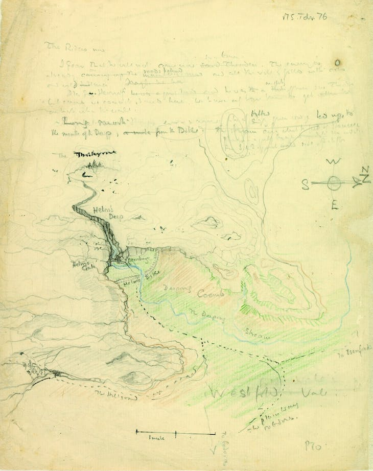 Map of Helm's Deep valley and the Hornburg fortress (1942), J.R.R. Tolkien.