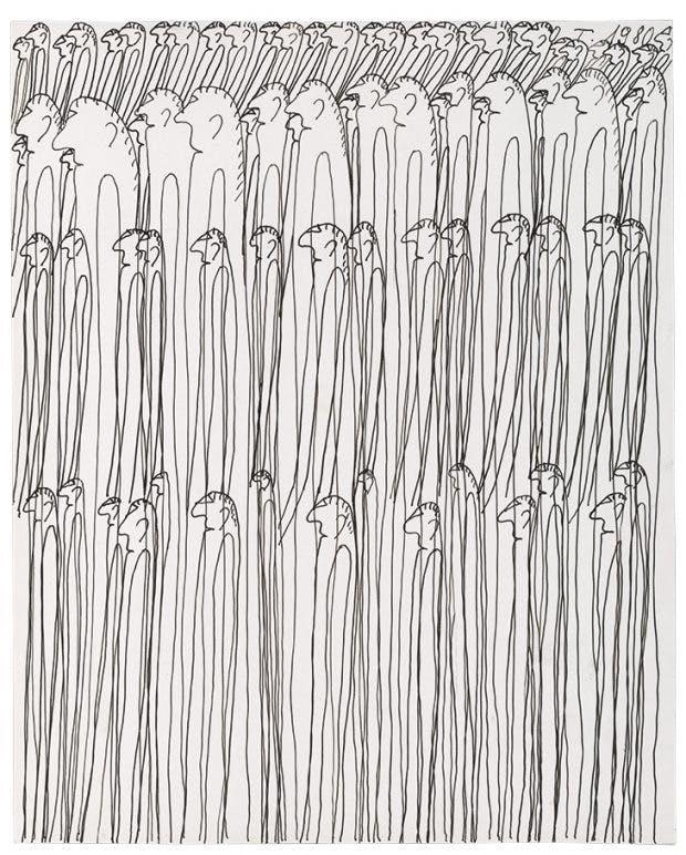Untitled (Personnages, (1980), Oswald Tschirtner. Collection de l'Art Brut, Lausanne, Photo: Atelier de numérisation – Ville de Lausanne