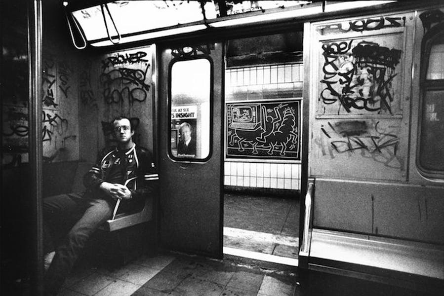 Keith Haring in Subway Car (c. 1984), Tseng Kwong Chi.