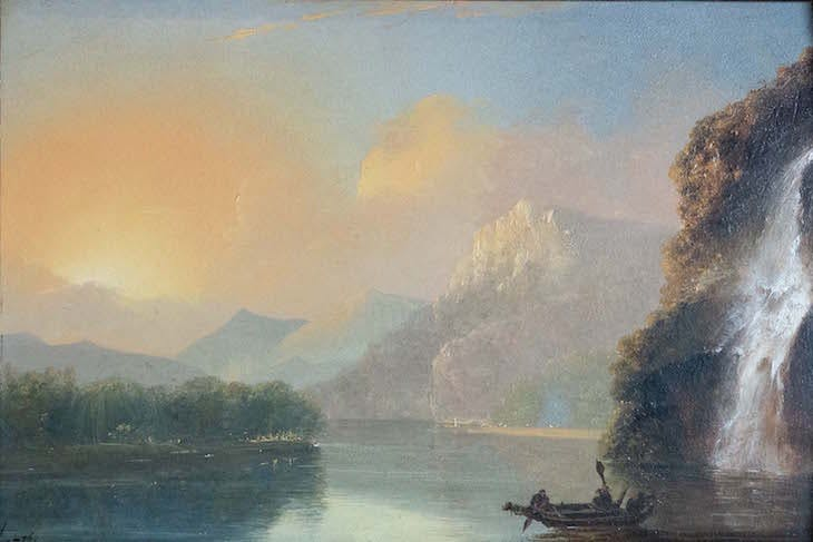 Waterfall in Dusky Bay with Maori canoe (1775), William Hodges.