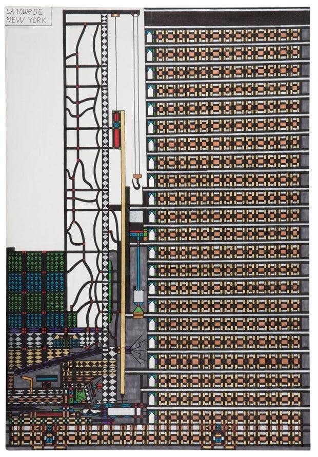 La Tour de New York, (between 2001 and 2005), Diego. Collection de l'Art Brut de Lausanne, photo: Caroline Smyrliadis, Atelier de Numérisation – Ville
