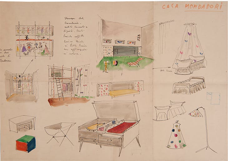 Furniture designs for the Mondadori House, Milan, 1945, Lina Bo Bardi