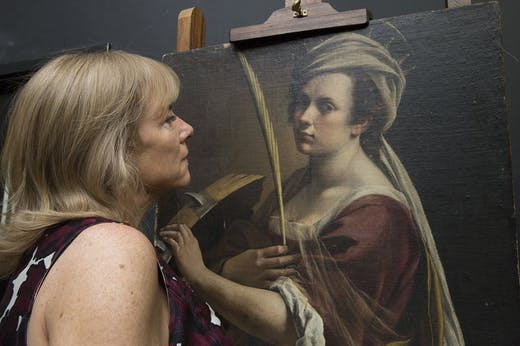 Hannah Rothschild with Artemisia Gentileschi's 'Self-portrait as Saint Catherine of Alexandria' , National Gallery