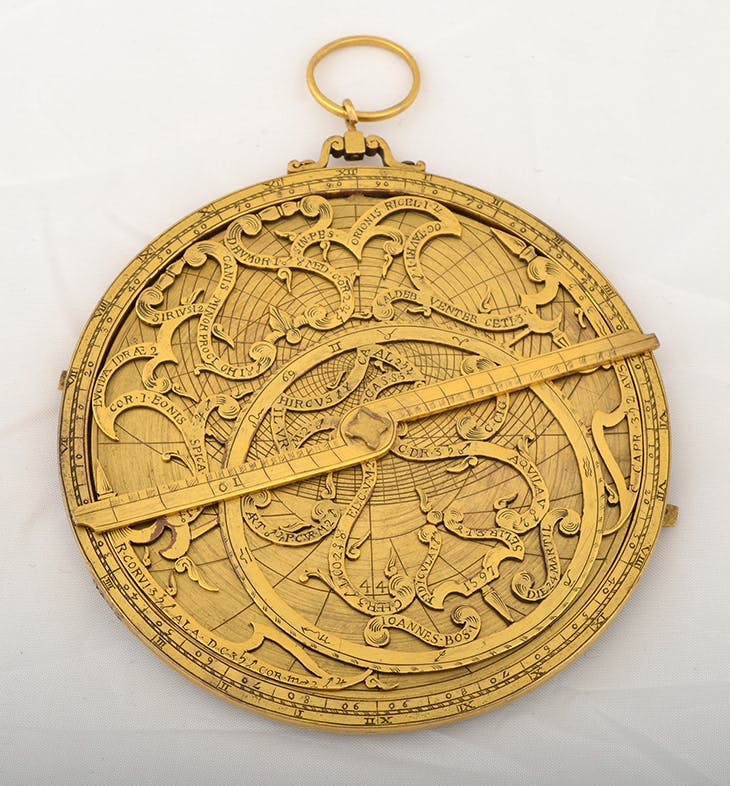 Gilt-copper astrolabe, purportedly by Johannes Bos of Rome, dated 1597, but now identified as a modern fake, c. 1920. Whipple Museum of the History of Science, University of Cambridge