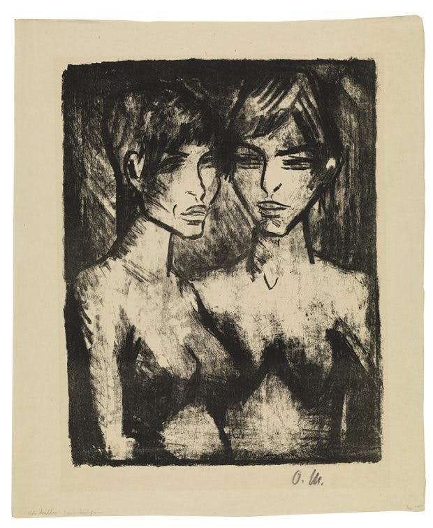 Two Girls, half-length nudes (1920), Otto Mueller. Hunterian Art Gallery, University of Glasgow