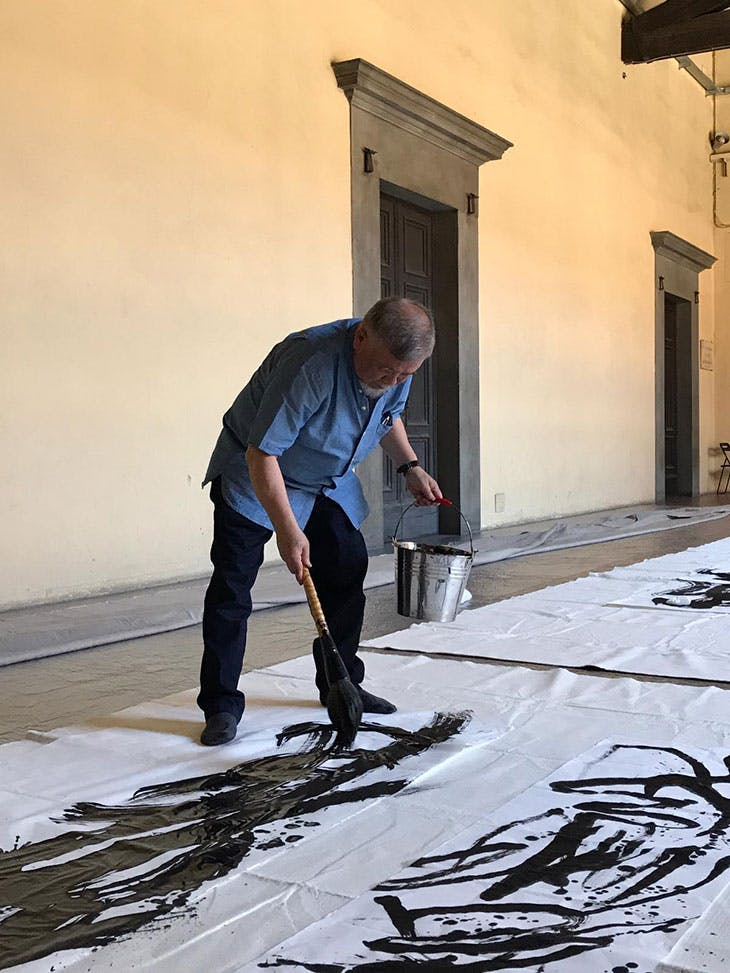 Yahon Chang's performance at the Palazzo Strozzi, Florence, 2019