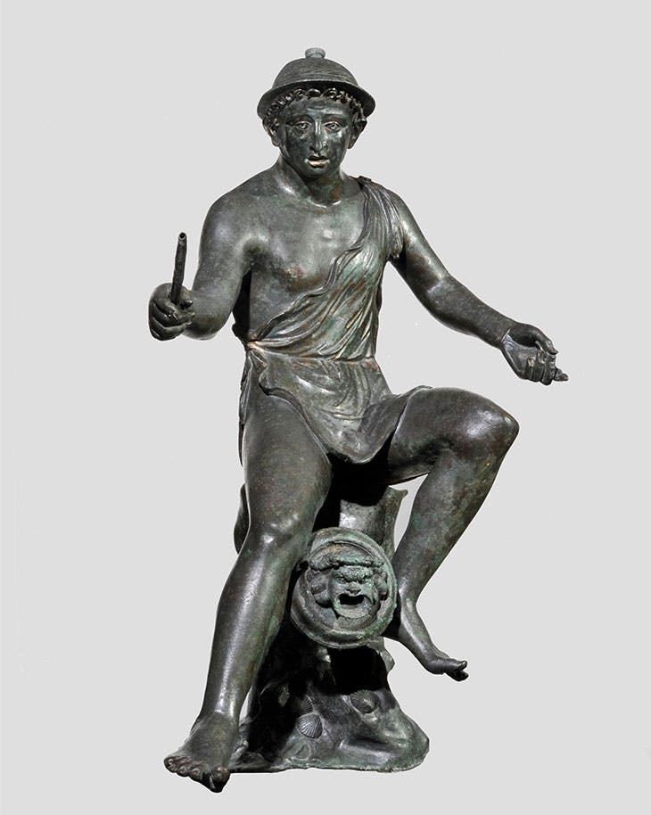 Bronze fountain spout in the form of a seated fisherman holding a fishing rod (50 BC–AD 50).