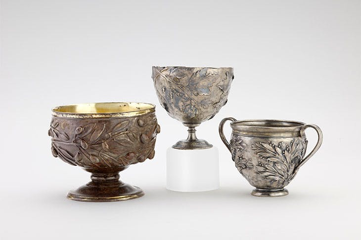 Gilded silver cups decorated with repoussé olive, vine and myrtle sprays (50 BC–AD 150)