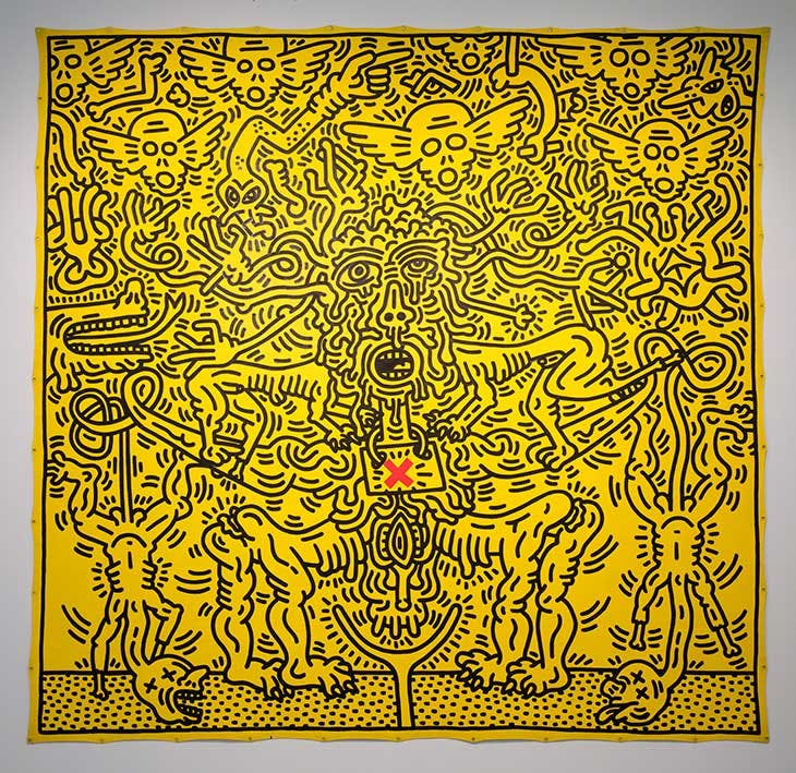 Untitled (1985), Keith Haring. Installation view of 'Keith Haring', Tate Liverpool, 2019.