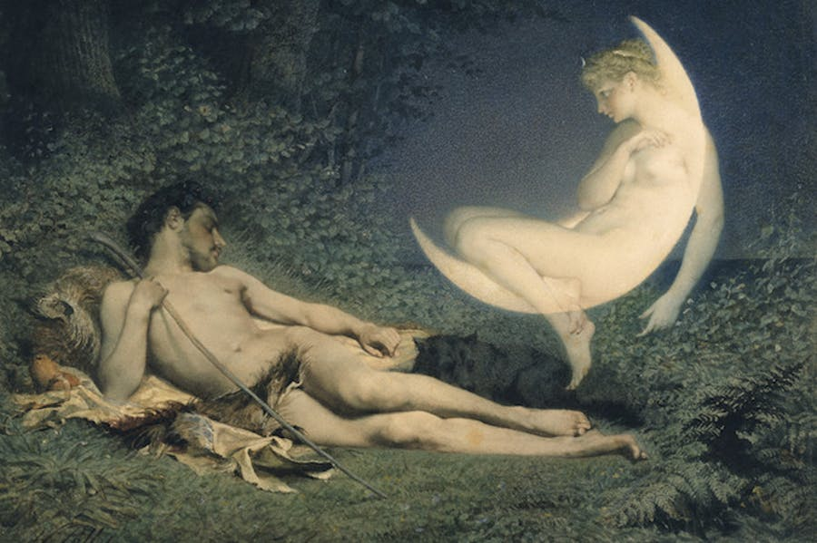 Endymion and Selene (detail; mid 19th century), Victor-Florence Pollet.