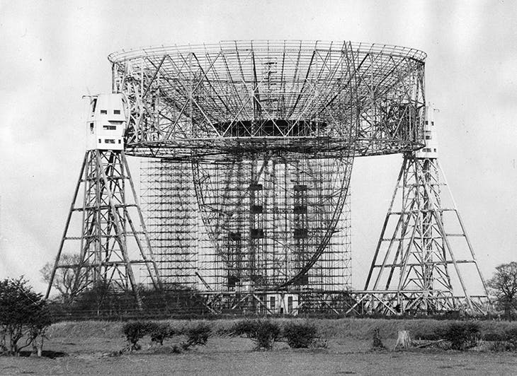 The radio telescope at Jodrell Bank under construction in 1957.