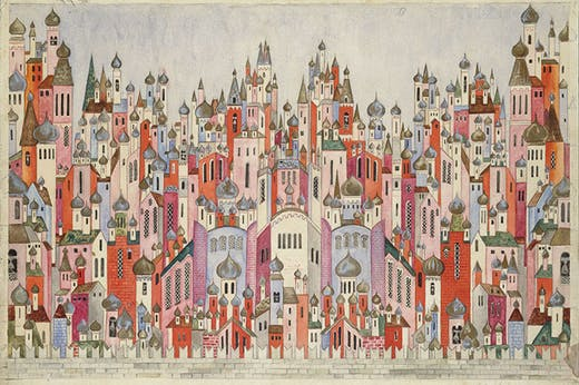 Set design for the backcloth in the final scene of The Firebird (1954), Natalia Goncharova. Victoria and Albert Museum, London.