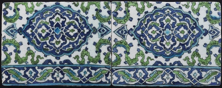 Two border tiles with medallions (late 17th century), Damscus, Syria.