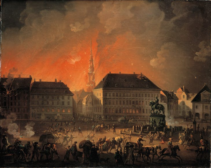 The Most Terrible Night. View of Kongens Nytorv in Copenhagen During the English Bombardment of Copenhagen